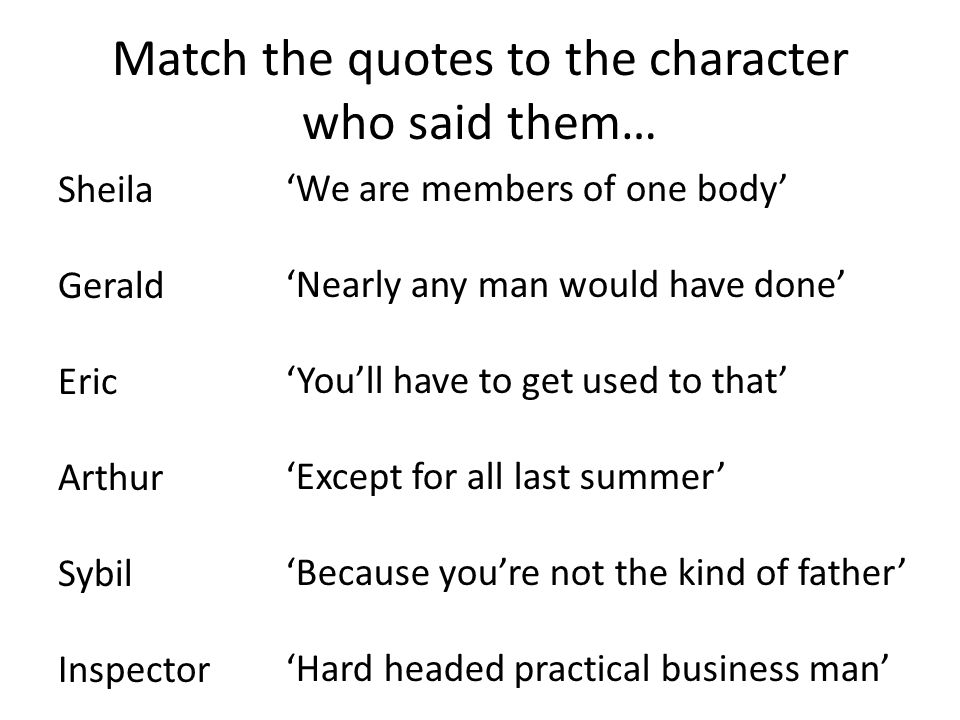 Match the quotes to the character who said them… Sheila Gerald Eric Arthur Sybil Inspector 'We are members of one body' 'Nearly any man would have don