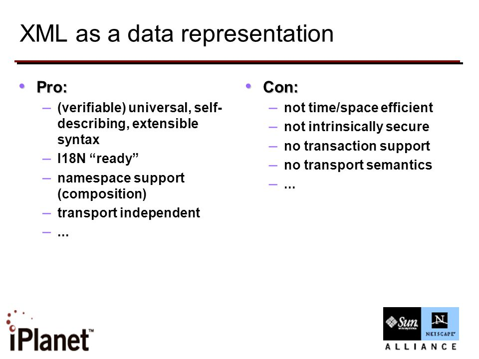 XML as a data representation Pro: Pro: – (verifiable) universal, self- describing, extensible syntax – I18N ready – namespace support (composition) – transport independent –...