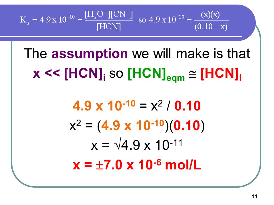 11 The assumption we will make is that x << [HCN] i so [HCN] eqm  [HCN] I 4.9 x 10 -10 = x 2 / 0.10 x 2 = (4.9 x 10 -10 )(0.10) x =  4.9 x 10 -11 x =  7.0 x 10 -6 mol/L