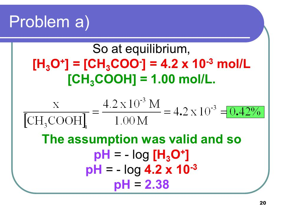 20 Problem a) So at equilibrium, [H 3 O + ] = [CH 3 COO - ] = 4.2 x 10 -3 mol/L [CH 3 COOH] = 1.00 mol/L. The assumption was valid and so pH = - log [