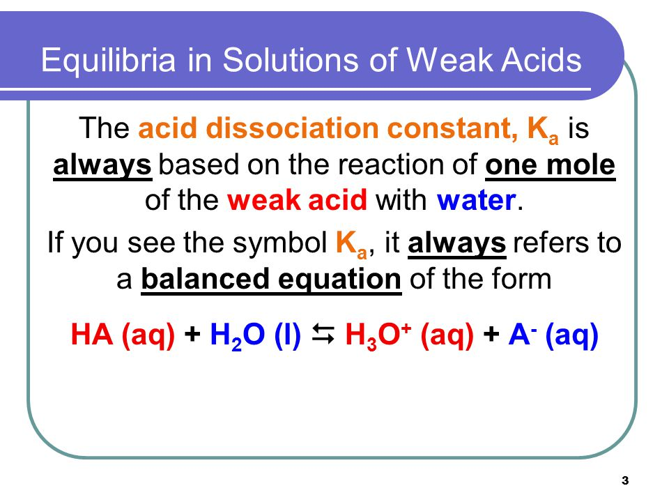 3 Equilibria in Solutions of Weak Acids The acid dissociation constant, K a is always based on the reaction of one mole of the weak acid with water. I