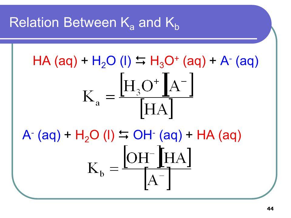 44 Relation Between K a and K b HA (aq) + H 2 O (l)  H 3 O + (aq) + A - (aq) A - (aq) + H 2 O (l)  OH - (aq) + HA (aq)