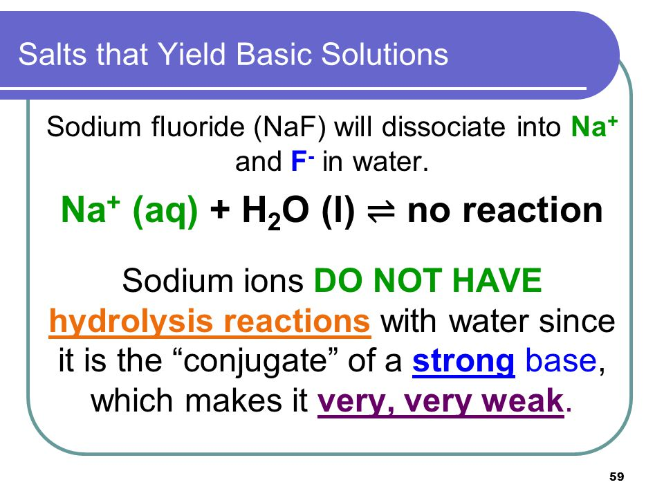 59 Salts that Yield Basic Solutions Sodium fluoride (NaF) will dissociate into Na + and F - in water. Na + (aq) + H 2 O (l) ⇌ no reaction Sodium ions