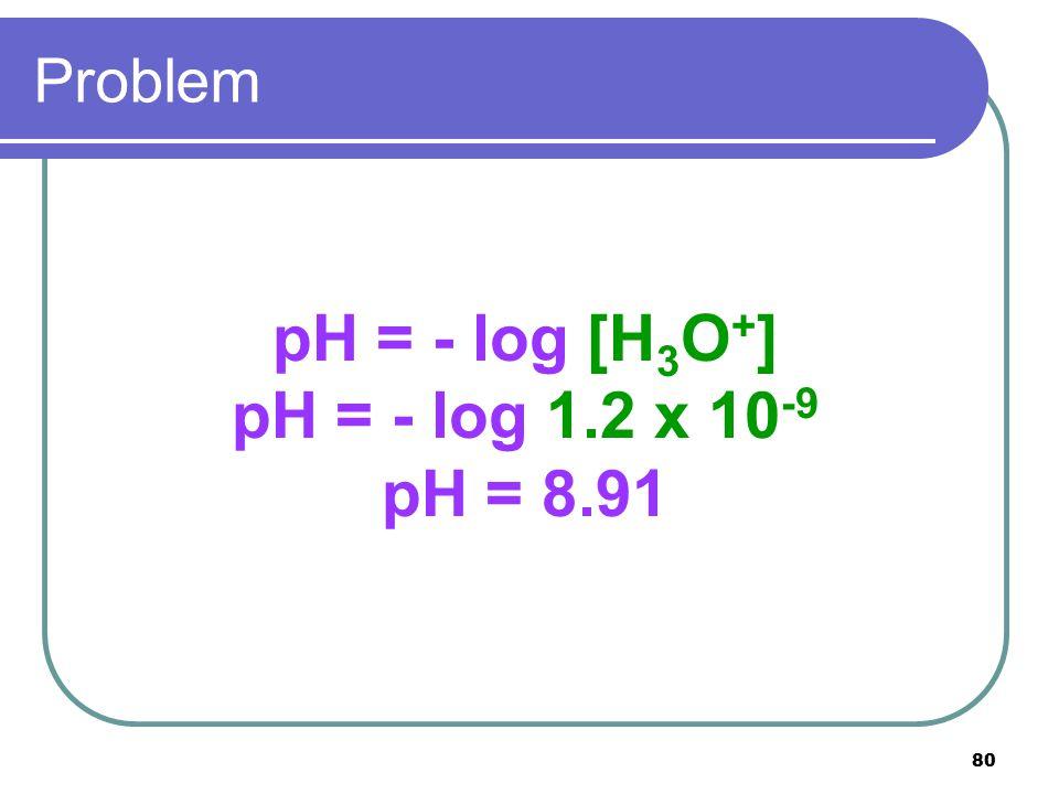 80 Problem pH = - log [H 3 O + ] pH = - log 1.2 x 10 -9 pH = 8.91