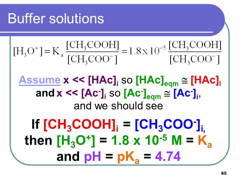 85 Buffer solutions Assume x << [HAc] i so [HAc] eqm  [HAc] I and x << [Ac - ] i so [Ac - ] eqm  [Ac - ] i, and we should see If [CH 3 COOH] i = [CH 3 COO - ] i, then [H 3 O + ] = 1.8 x 10 -5 M = K a and pH = pK a = 4.74