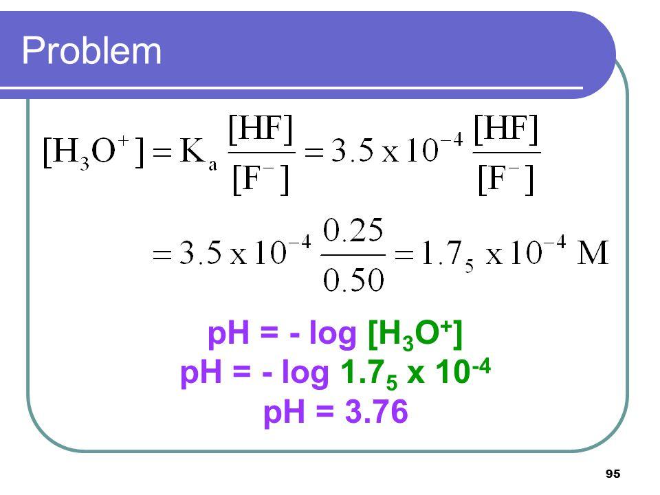 95 Problem pH = - log [H 3 O + ] pH = - log 1.7 5 x 10 -4 pH = 3.76
