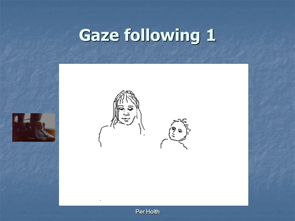 Per Holth Examples Gaze following Gaze following Monitoring Monitoring Social referencing Social referencing Protoimperative Protoimperative Protodeclarative Protodeclarative