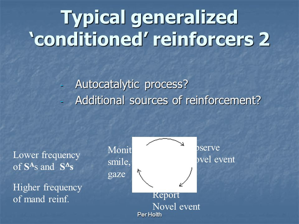 Per Holth Typical generalized 'conditioned' reinforcers 1 To what extent are they typically conditioned in the first place in normally developing chil