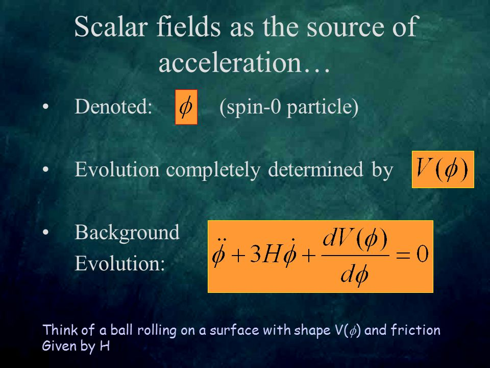 Scalar fields as the source of acceleration… Denoted: (spin-0 particle) Evolution completely determined by Background Evolution: Think of a ball rolling on a surface with shape V(  ) and friction Given by H
