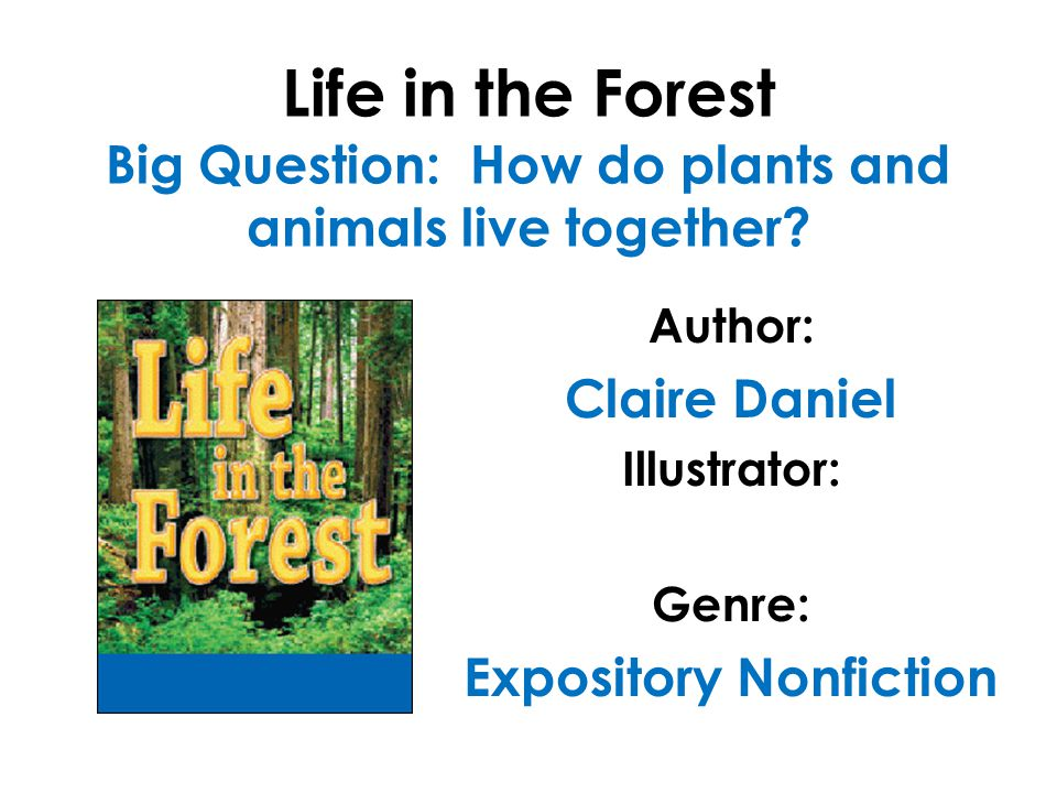 Life in the Forest Big Question: How do plants and animals live together? Author: Claire Daniel Illustrator: Genre: Expository Nonfiction