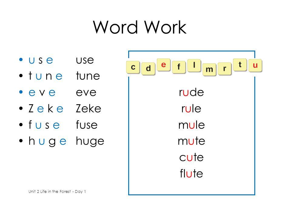 Word Work u s euse t u n etune e v eeve Z e k eZeke f u s efuse h u g ehuge Unit 2 Life in the Forest - Day 1 rude rule mule mute cute flute