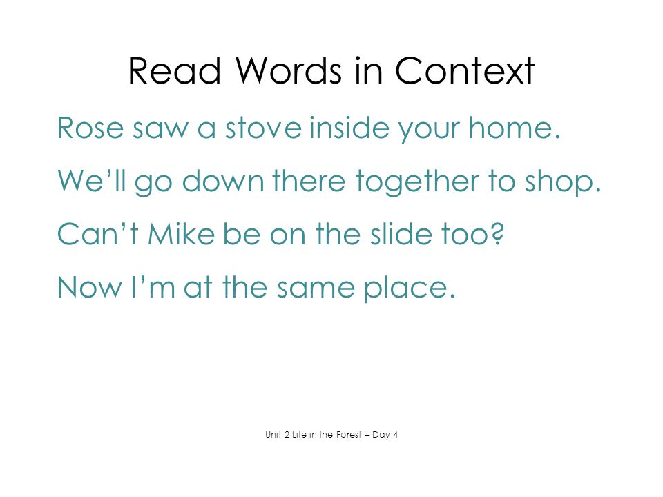 Read Words in Context Rose saw a stove inside your home. We'll go down there together to shop. Can't Mike be on the slide too? Now I'm at the same pla