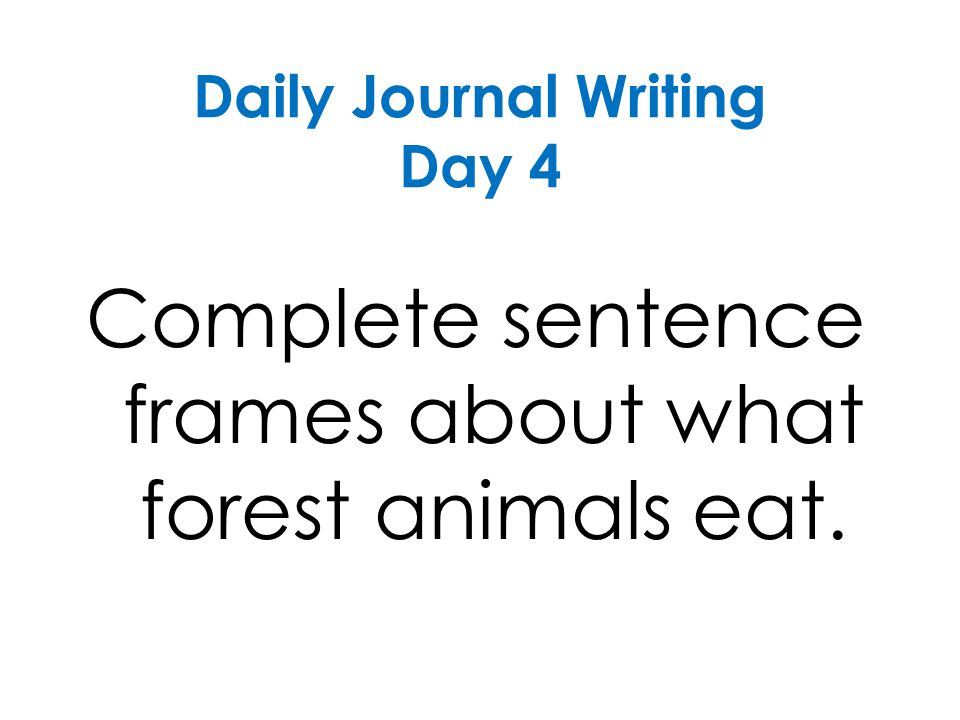 Daily Journal Writing Day 4 Complete sentence frames about what forest animals eat.
