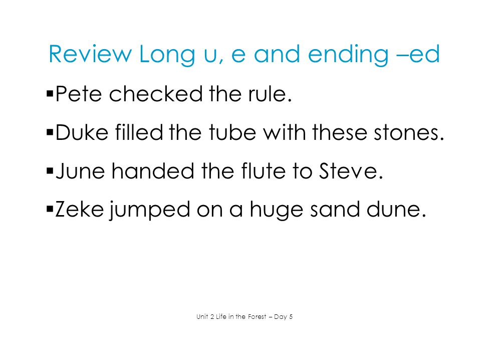 Review Long u, e and ending –ed  Pete checked the rule.  Duke filled the tube with these stones.  June handed the flute to Steve.  Zeke jumped on
