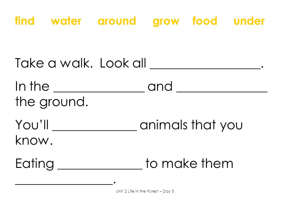 find water around grow food under Take a walk. Look all _________________. In the ______________ and ______________ the ground. You'll _____________ a