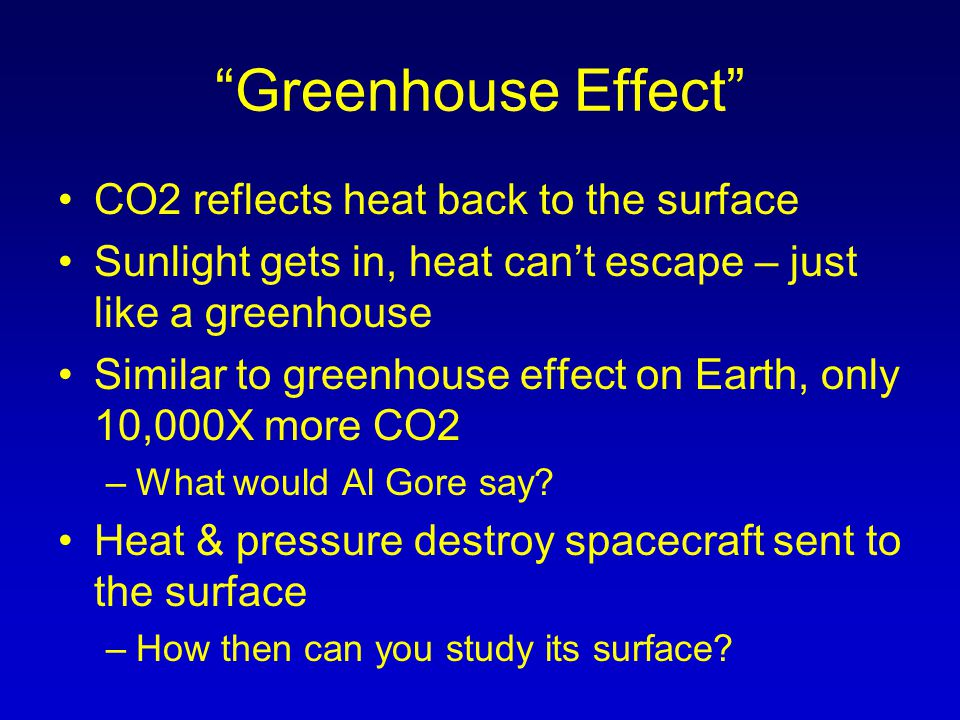 Greenhouse Effect CO2 reflects heat back to the surface Sunlight gets in, heat can't escape – just like a greenhouse Similar to greenhouse effect on Earth, only 10,000X more CO2 –What would Al Gore say.