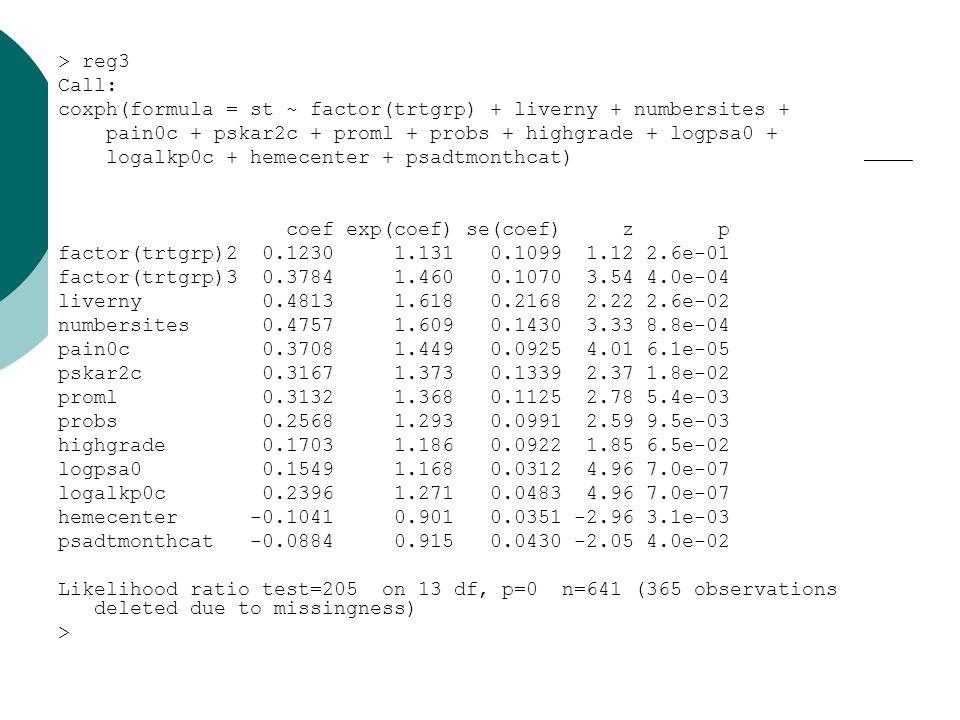> reg3 Call: coxph(formula = st ~ factor(trtgrp) + liverny + numbersites + pain0c + pskar2c + proml + probs + highgrade + logpsa0 + logalkp0c + hemecenter + psadtmonthcat) coef exp(coef) se(coef) z p factor(trtgrp)2 0.1230 1.131 0.1099 1.12 2.6e-01 factor(trtgrp)3 0.3784 1.460 0.1070 3.54 4.0e-04 liverny 0.4813 1.618 0.2168 2.22 2.6e-02 numbersites 0.4757 1.609 0.1430 3.33 8.8e-04 pain0c 0.3708 1.449 0.0925 4.01 6.1e-05 pskar2c 0.3167 1.373 0.1339 2.37 1.8e-02 proml 0.3132 1.368 0.1125 2.78 5.4e-03 probs 0.2568 1.293 0.0991 2.59 9.5e-03 highgrade 0.1703 1.186 0.0922 1.85 6.5e-02 logpsa0 0.1549 1.168 0.0312 4.96 7.0e-07 logalkp0c 0.2396 1.271 0.0483 4.96 7.0e-07 hemecenter -0.1041 0.901 0.0351 -2.96 3.1e-03 psadtmonthcat -0.0884 0.915 0.0430 -2.05 4.0e-02 Likelihood ratio test=205 on 13 df, p=0 n=641 (365 observations deleted due to missingness) >