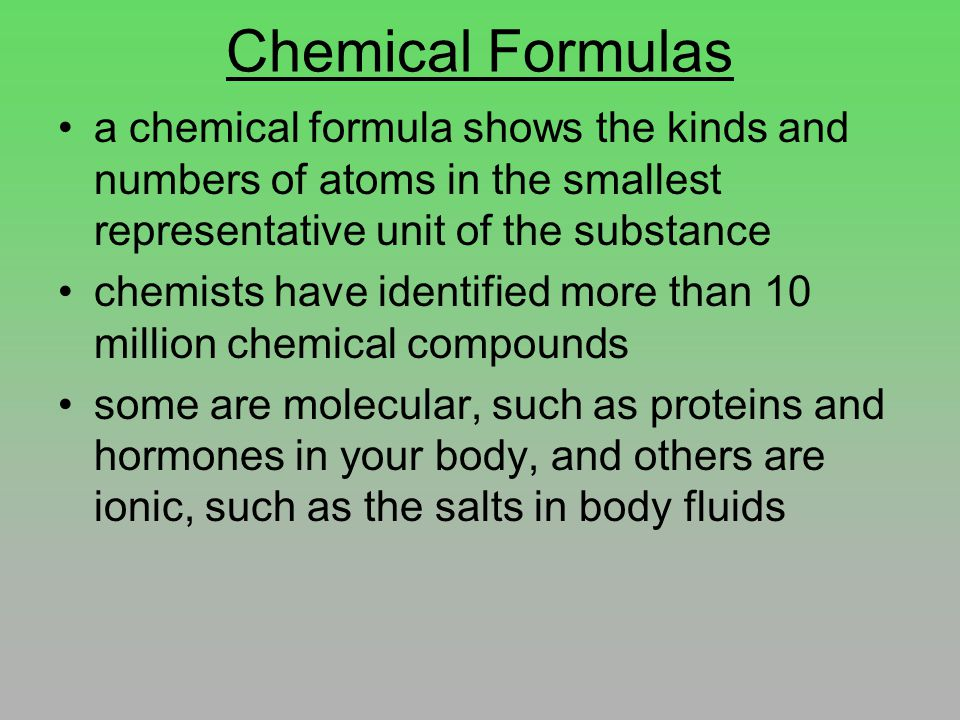 Chemical Formulas For monatomic elements, they are simply represented by their atomic symbols, He, Ne If the molecules of an element have more than one atom, a number is used as a subscript For example: the 7 diatomic molecules H 2 F 2 O 2 N 2 Cl 2 Br 2 I 2