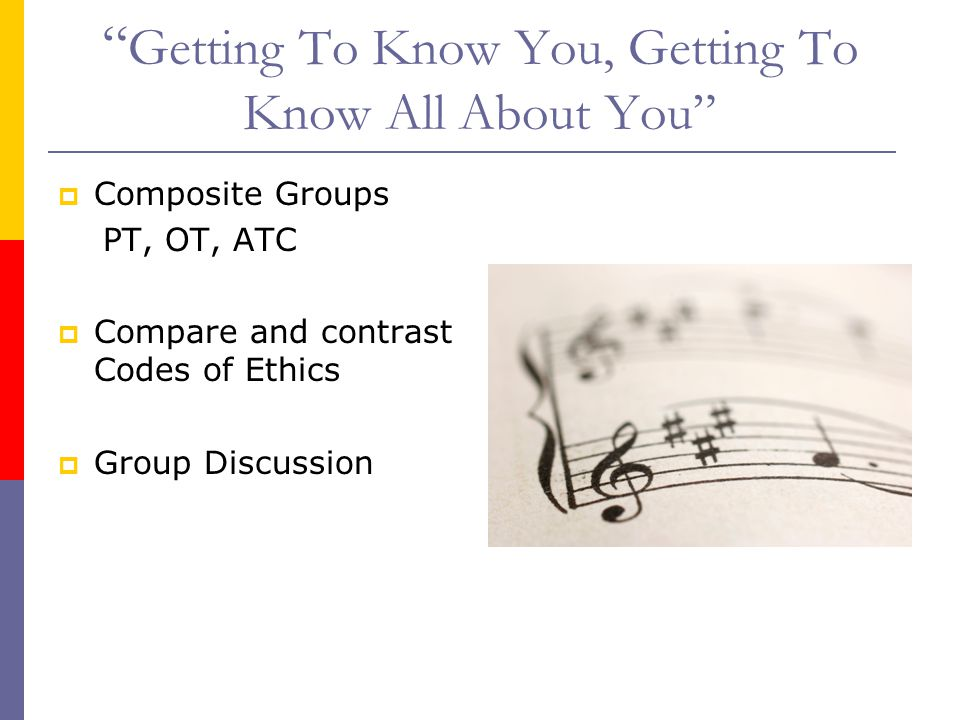 Getting To Know You, Getting To Know All About You  Composite Groups PT, OT, ATC  Compare and contrast Codes of Ethics  Group Discussion