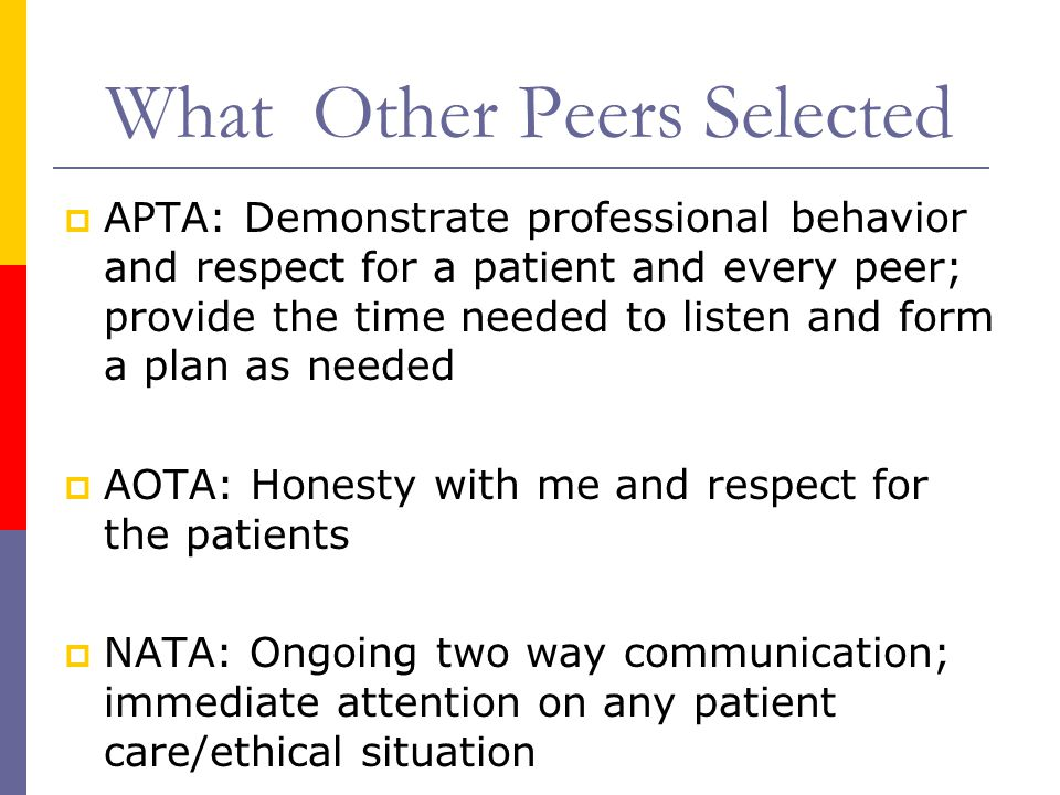 What Other Peers Selected  APTA: Demonstrate professional behavior and respect for a patient and every peer; provide the time needed to listen and form a plan as needed  AOTA: Honesty with me and respect for the patients  NATA: Ongoing two way communication; immediate attention on any patient care/ethical situation