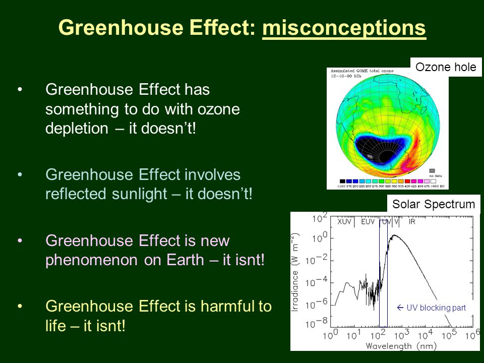PTYS/ASTR 206Earth 2/27/07 Greenhouse Effect: misconceptions Greenhouse Effect has something to do with ozone depletion – it doesn't.