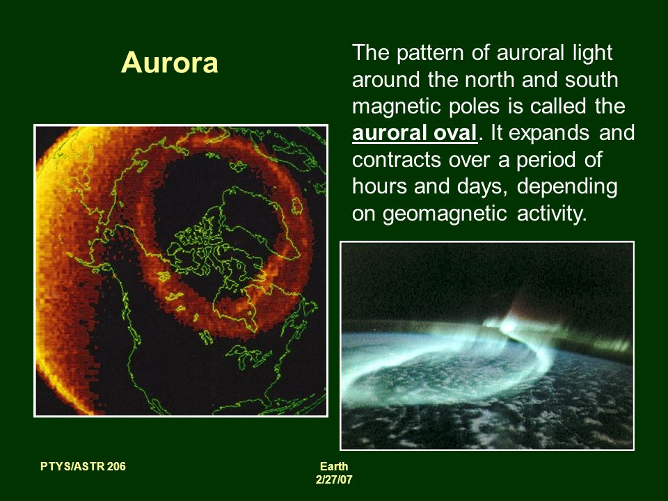 PTYS/ASTR 206Earth 2/27/07 Aurora The pattern of auroral light around the north and south magnetic poles is called the auroral oval.