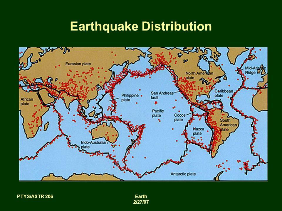 PTYS/ASTR 206Earth 2/27/07 Earthquake Distribution