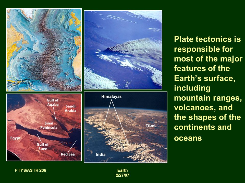 PTYS/ASTR 206Earth 2/27/07 Plate tectonics is responsible for most of the major features of the Earth's surface, including mountain ranges, volcanoes, and the shapes of the continents and oceans