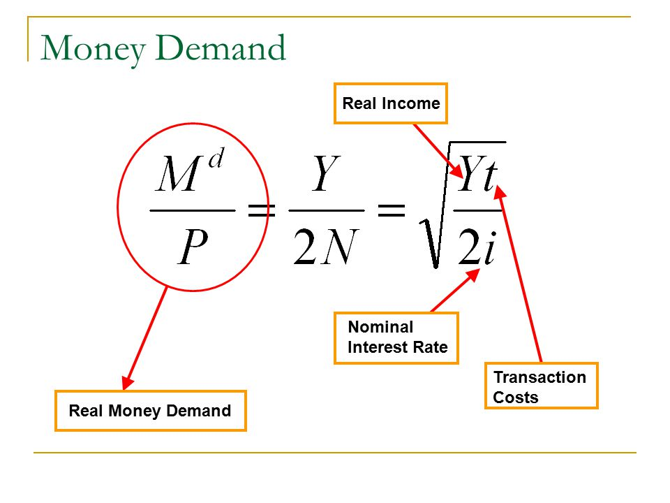 Money Demand As the interest rate goes up, you hold less cash. Therefore, you make more trips to the bank As ATM fees rise, you make less trips to the