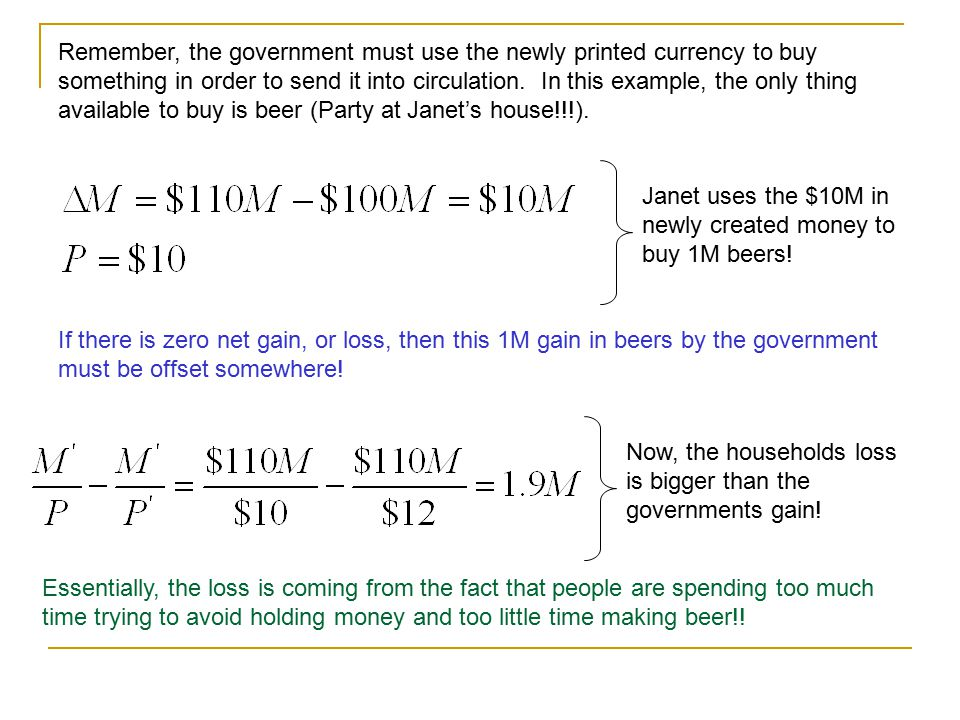 Lets make this example a little more specific. Suppose that prior to the 10% increase in the money supply, there was $100M in circulation. Further, as