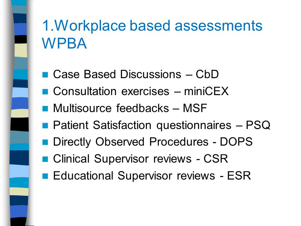 Educational Supervisor (ES) reviews (2 per year) Before every ES review you MUST complete a self assessment, (rating and comments) of each of the 12 competency areas documented in your eportfolio Your ES will then with you present, make his/her ratings and comments on each competency area Your curriculum coverage, skills log, PDP and learning log are also commented on by your ES in the review A judgement is then made on your competency progression (the aim is to show progression throughout the 3y scheme)