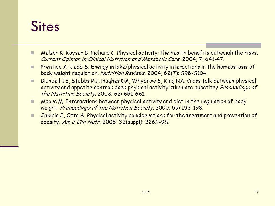 200947 Sites Melzer K, Kayser B, Pichard C.