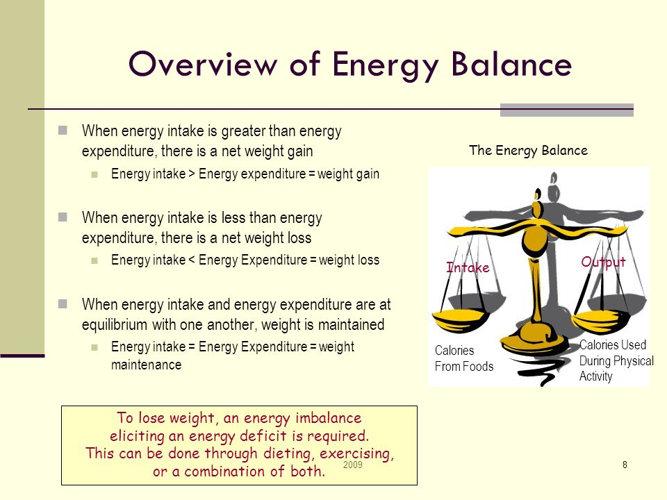 20098 Overview of Energy Balance When energy intake is greater than energy expenditure, there is a net weight gain Energy intake > Energy expenditure = weight gain When energy intake is less than energy expenditure, there is a net weight loss Energy intake < Energy Expenditure = weight loss When energy intake and energy expenditure are at equilibrium with one another, weight is maintained Energy intake = Energy Expenditure = weight maintenance The Energy Balance Intake Output Calories From Foods Calories Used During Physical Activity To lose weight, an energy imbalance eliciting an energy deficit is required.