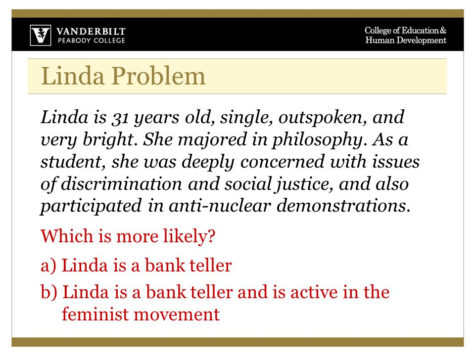 Linda Problem Linda is 31 years old, single, outspoken, and very bright.