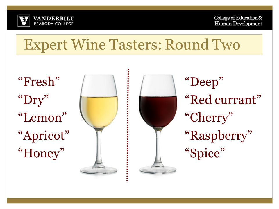 Expert Wine Tasters: Round Two Fresh Dry Lemon Apricot Honey Deep Red currant Cherry Raspberry Spice