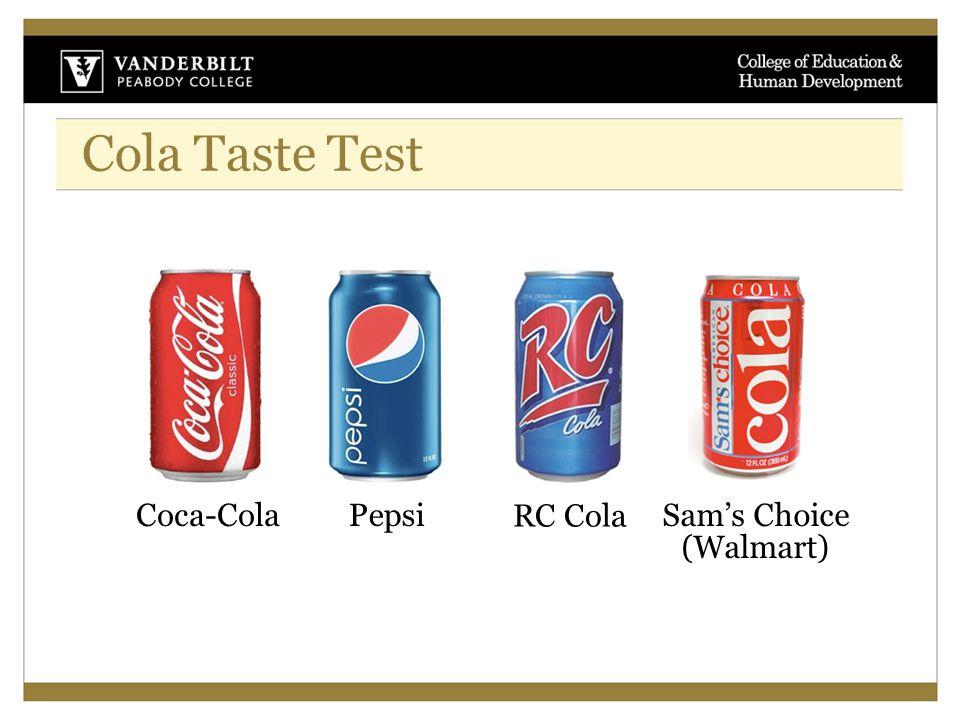 Cola Taste Test RC Cola PepsiSam's Choice (Walmart) Coca-Cola