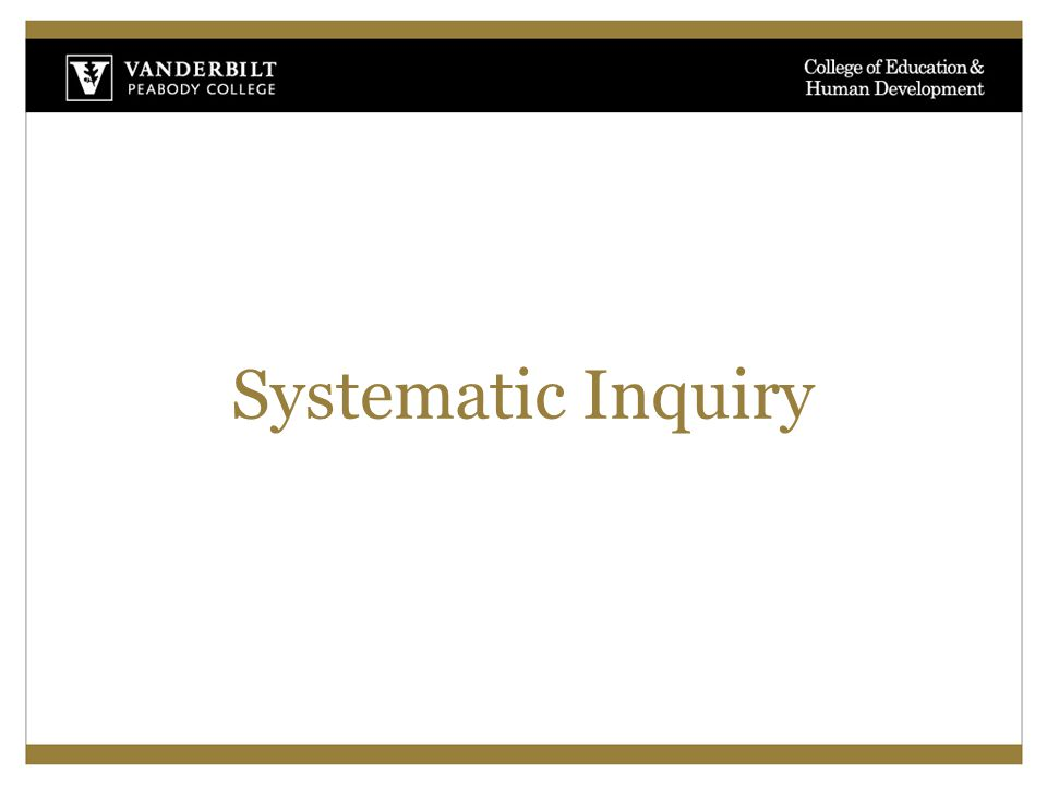 Systematic Inquiry