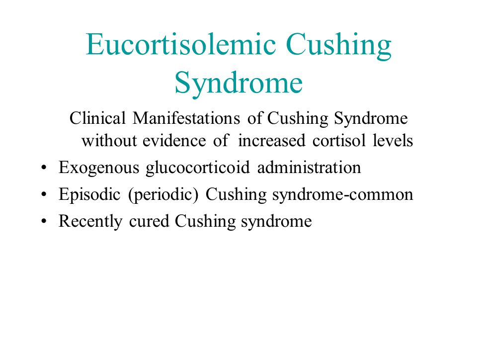Overnight dexamethasone test Conclusion: test useless for excluding Cushing's syndrome.