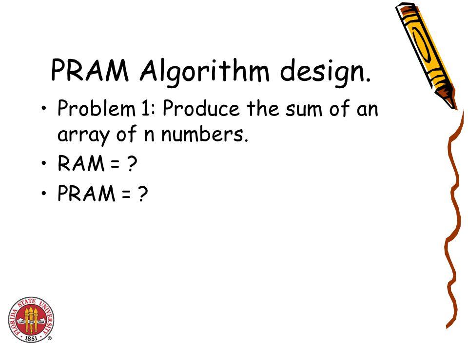 PRAM Merge Sort T(n) = T(n/2) + O(log n) Using the idea of pipelined d&c PRAM Mergesort can be done in O(log n).