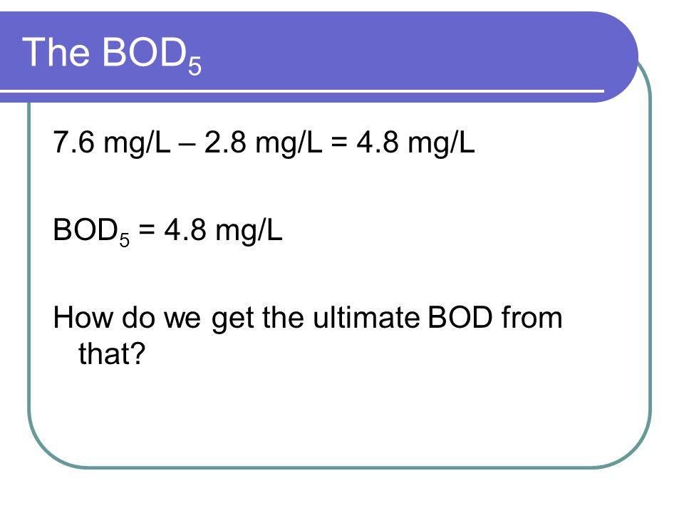 Ultimate BOD calculation k = 0.23 day -1 BODE = BOD 5 = BOD (1-e -kt ) 330 mg/L = BOD (1 – e -( 0.23 days -1)(5 days) ) 330 mg/L = BOD (1-0.3166) = BOD (0.6833) Ultimate BOD = 483 mg/L
