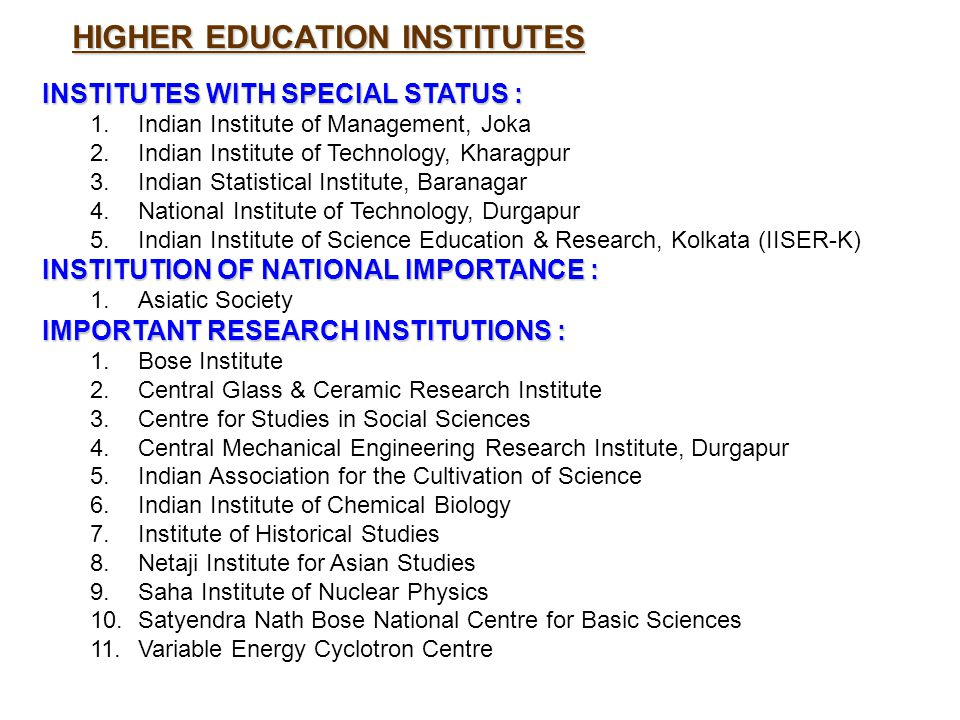 INSTITUTES WITH SPECIAL STATUS : 1.Indian Institute of Management, Joka 2.Indian Institute of Technology, Kharagpur 3.Indian Statistical Institute, Ba