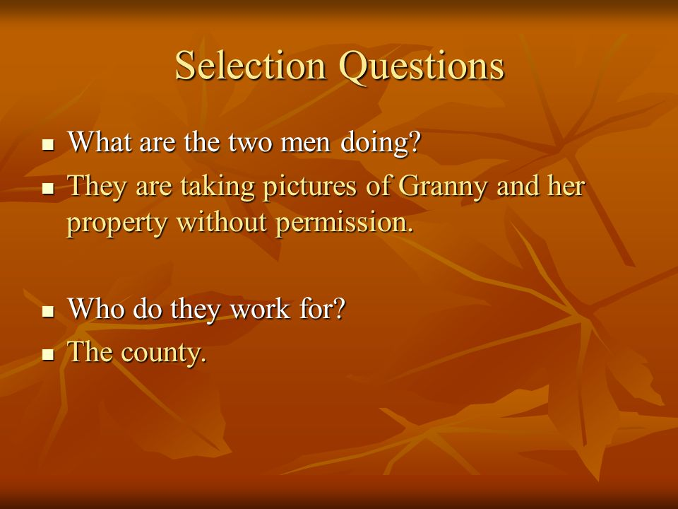 Selection Questions What are the two men doing? What are the two men doing? They are taking pictures of Granny and her property without permission. Th