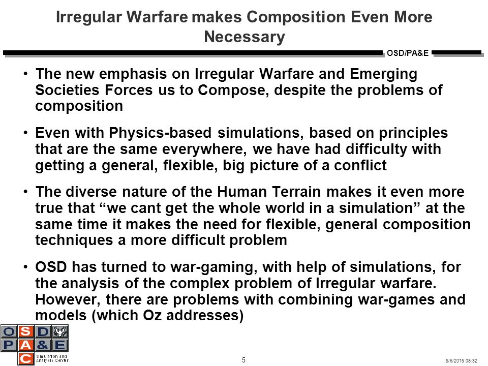 5/6/2015 08:32 6 OSD/PA&E Definition of Irregular Warfare A violent struggle among state and non-state actors for legitimacy and influence over the relevant populations.