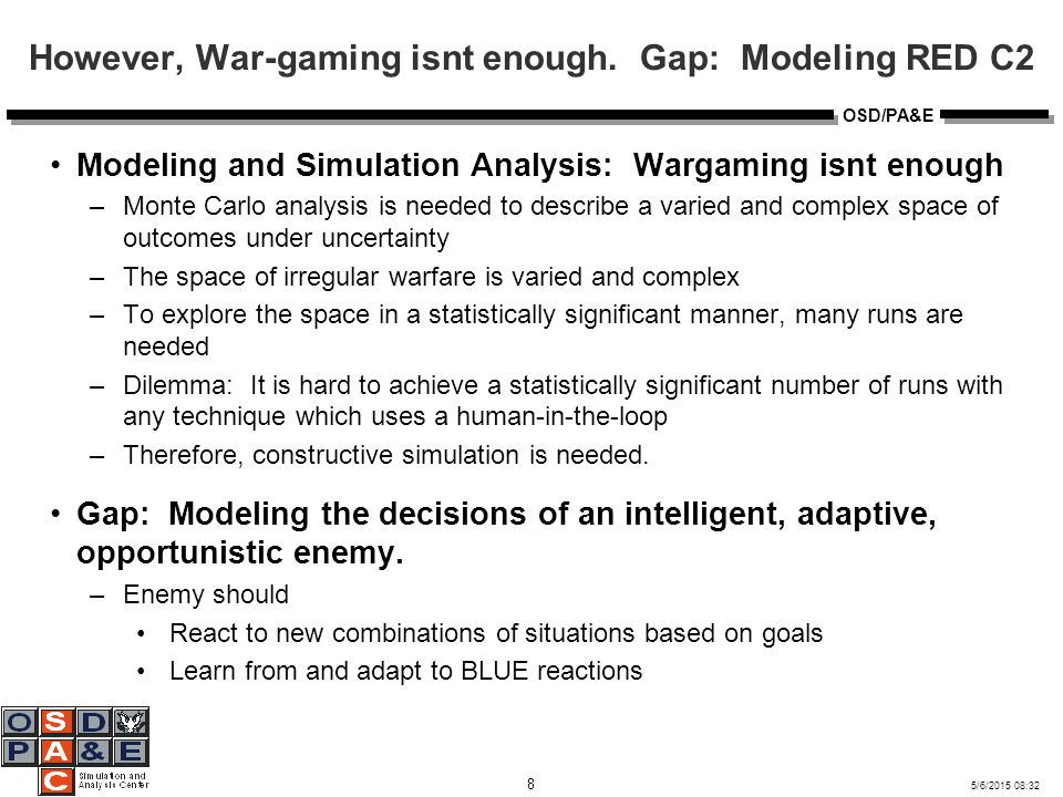 5/6/2015 08:32 8 OSD/PA&E However, War-gaming isnt enough.