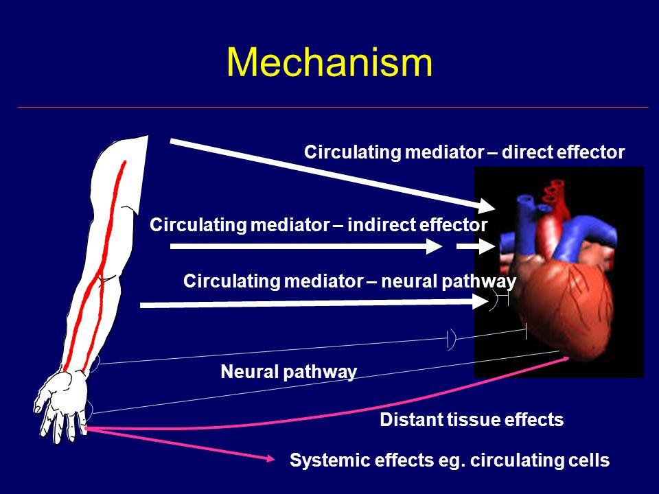 Mechanism Circulating mediator – direct effector Circulating mediator – indirect effector Circulating mediator – neural pathway Neural pathway Systemic effects eg.