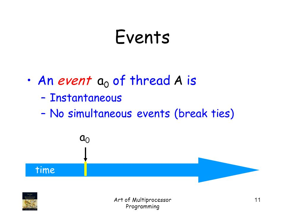 Art of Multiprocessor Programming 11 time An event a 0 of thread A is –Instantaneous –No simultaneous events (break ties) a0a0 Events