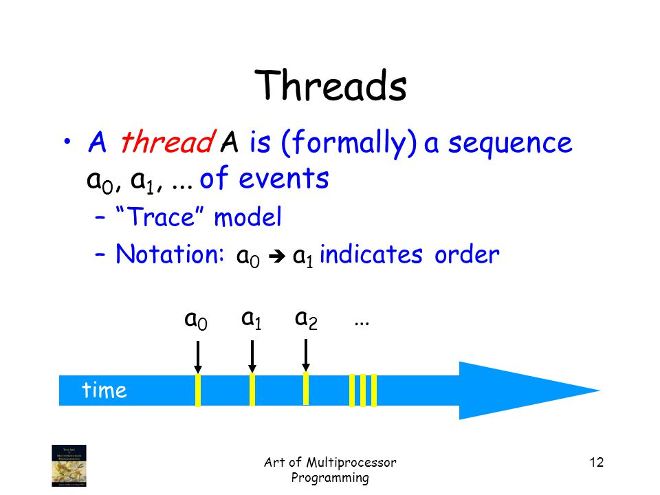 Art of Multiprocessor Programming 12 time A thread A is (formally) a sequence a 0, a 1,...