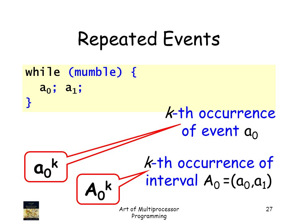 Art of Multiprocessor Programming 27 Repeated Events while (mumble) { a 0 ; a 1 ; } a0ka0k k-th occurrence of event a 0 A0kA0k k-th occurrence of interval A 0 =(a 0,a 1 )