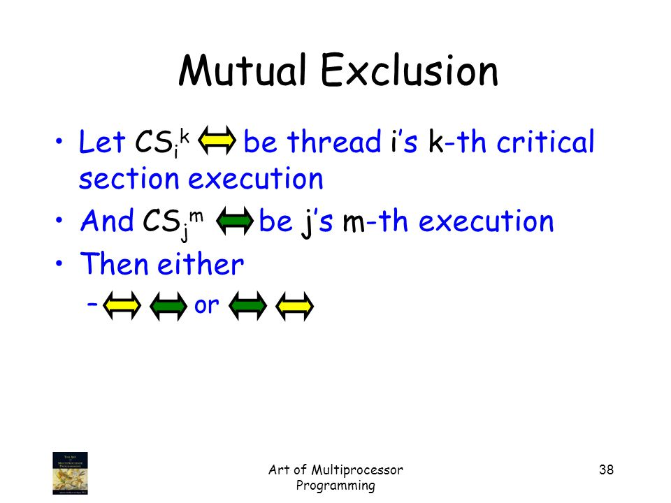 Art of Multiprocessor Programming 38 Mutual Exclusion Let CS i k be thread i's k-th critical section execution And CS j m be j's m-th execution Then either – or