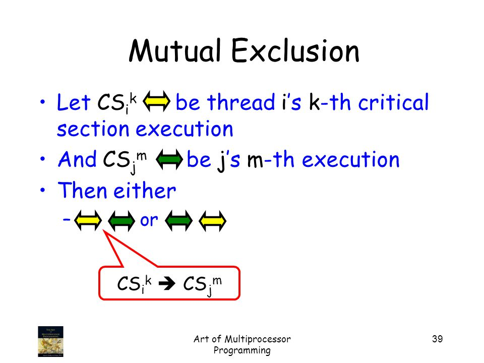 Art of Multiprocessor Programming 39 Mutual Exclusion Let CS i k be thread i's k-th critical section execution And CS j m be j's m-th execution Then either – or CS i k  CS j m